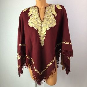 Jackets & Blazers - Beautiful burgundy embroidered shawl 33 in long